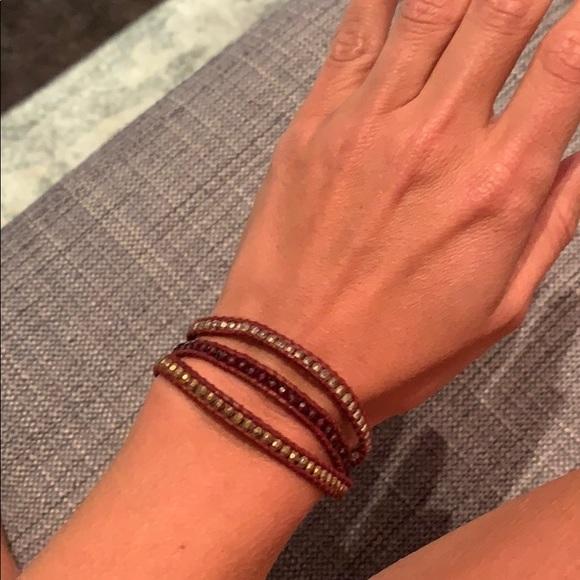 Chan Luu Jewelry - Gold and crystal mix three wrap bracelet